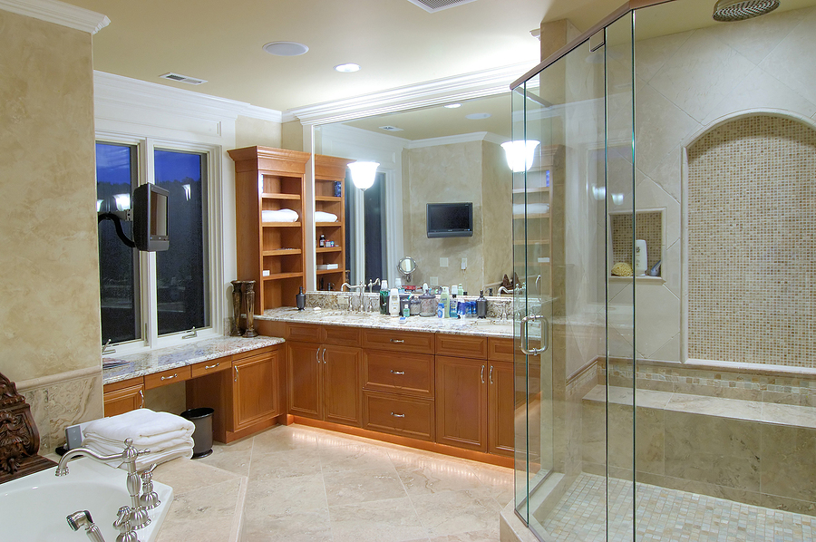 luxury and spacious bathroom in an american house